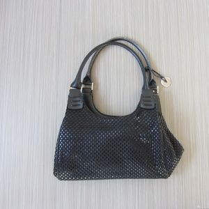The Sak Black Leather Woven Shoulder Bag Purse